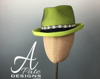 Classic Trilby Fedora Hat Hand blocked in Chartreuse Wool Felt w black mesh overlay & woven fringed band