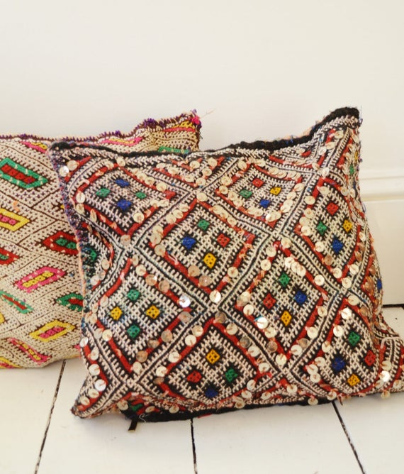 Vintage Moroccan Pattern Kilim Berber Carpet Cushions-lumbar, vintage cushions, christmas gifts, gifts, No.3, Ramadan, Eid
