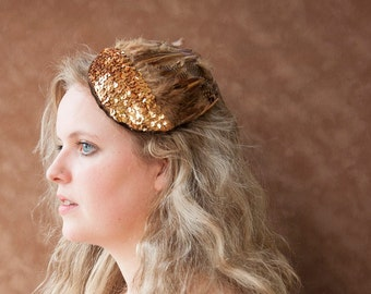 Fascinator Gold Sequins, Vintage Hair Accessories, 1920s Party, 20s Outfit, Flapper Headdress, Gatsby Hair Accessories, Festival, Women