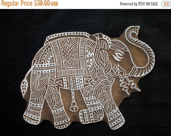 10% OFF Big Elephant Indian block printing stamp/textile pottery stamp/Tjap/hand carved wooden block for printing/ paper and fabric printing