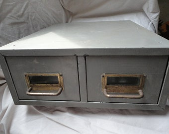 Vintage Two Drawer Gray Metal File Box Storage Container Cabinet Holder