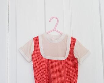 Vintage Toddler Kids Top Shirt and Skirt Vintage Polka Dot Baby Toddler Size 2-3 Full Outfit