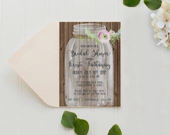 Bridal Shower Invitation, Printed Invitation with Envelope, Mason Jar Bridal Shower, Pink Watercolor Flower, Rustic Bridal Shower