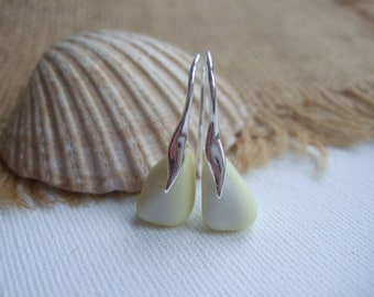 Pastel Yellow Seaham sea glass earring, yellow white sea glass earrings, 1950s colors, sterling, milk glass, sea glass jewelry, unique gift