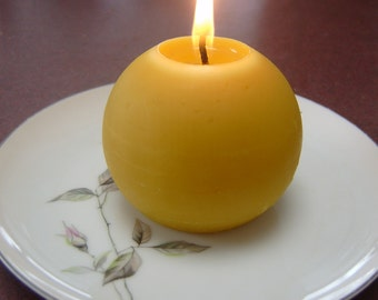 "Natural Handmade 100% Beeswax Candle - 3"" ball"