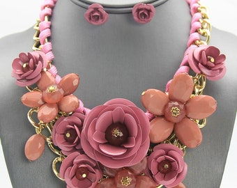 Rose Flower Bib Necklace Set (more color options)