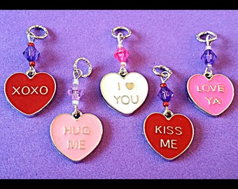 Hearing Aid Charms:  Conversation Hearts with Glass Accent Beads!