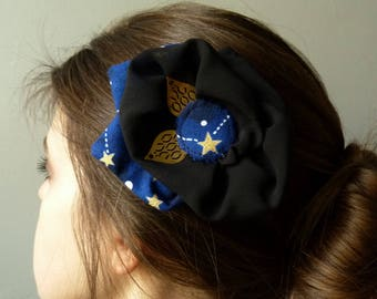 Hair clip in dark blue petal flower printed constalletions Bohemian witch star hair accessory