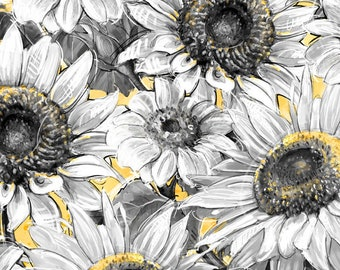 Half Yard Fabric-A Bees Life-Gray Grey Sunflower