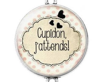 Great connector silver cabochon 10 Cupid Valentine