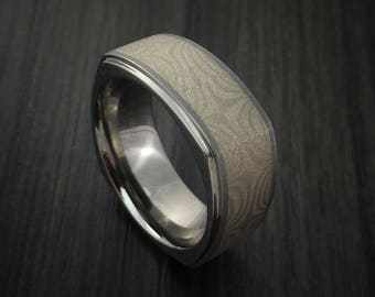 Cobalt chrome square ring with palladium mokume inlay custom made
