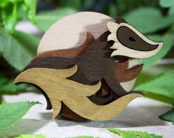 Badger Brooch - Woodland Collection