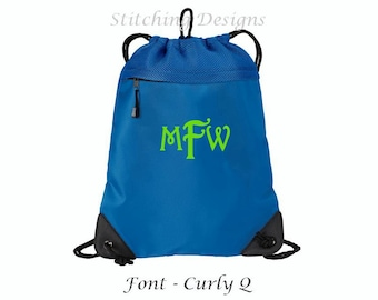 Monogrammed cinch backpack, draw string backpack, personalized backpack, mesh back section, heavy material - 6 colors available