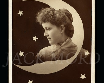 RESERVED / Do Not Buy // Beautiful 1890s Cabinet Card Photo ~ Woman's Portrait with Rare Moon and Stars Graphic