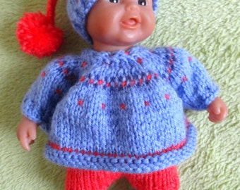 "Hand Knitted Dolls Clothes for 8""  OOAK  Doll (#251)"