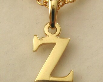 Genuine SOLID 9K 9ct YELLOW GOLD 3D Initial Z Letter Pendant