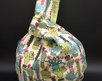 FREE SHIPPING Ready to Ship:  LARGE Knitting Bag Japanese knot bag Succulents Sock Knitting Yarn Bag Handmade Reversible Project Bag Gift