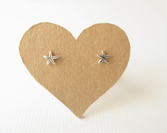 1 pair of 6 mm  Small Star Fish, Oxidized Sterling Silver  post stud earrings, Nickel free .