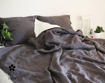 Soft 100% pure natural linen dark grey duvet cover with ties clousure | softened linen duvet cover in handmade