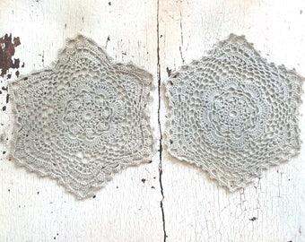 "Twin Crocheted Doilies 5 1/4"""
