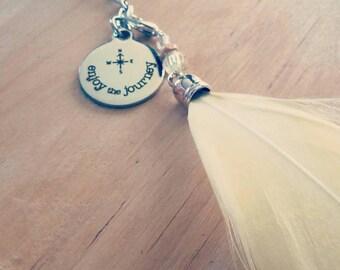 Enjoy the Journey Feather Keychain