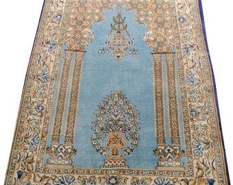 Authentic Persian carpet size 153x110cm sky blue background.
