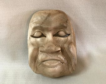 Wooden Asian Theater  Mask Wall Art #5  Wood Hand Carved 3 Dimensional OOAK Folk Art