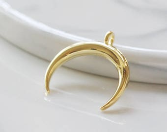 925 Sterling Silver / Gold Plated / Crescent / Charm / Moon 19.4*19.5mm