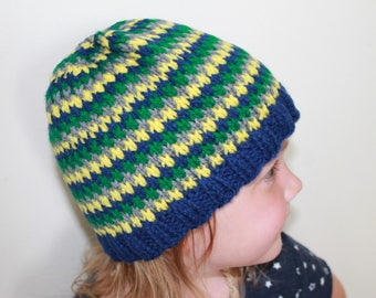 Child's striped knit hat
