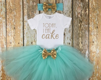 Today I Eat Cake, First Birthday Outfit Girl, Mint and Gold Birthday, Birthday Girl, Cake Smash Outfit, One, Birthday Tutu Outfit