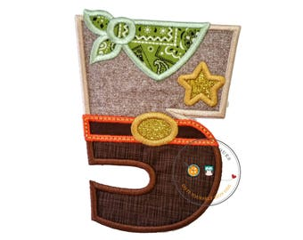 Sheriff birthday number five iron on applique, Embroidered western fifth birthday patch, Wild west 5th birthday themed party, ready to ship