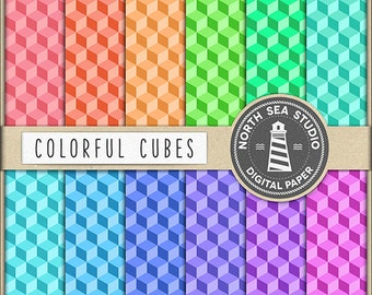 Cubes Digital Paper Pack | Scrapbook Paper | Cube Pattern | Printable Backgrounds | 12 JPG, 300dpi Files | BUY5FOR8