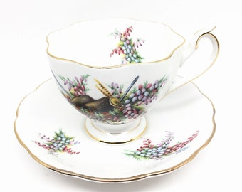 Clan Maclean Tea Cup and Saucer, Queen Anne Glengarrys, Fine Bone China, Collectible, Scottish Gift