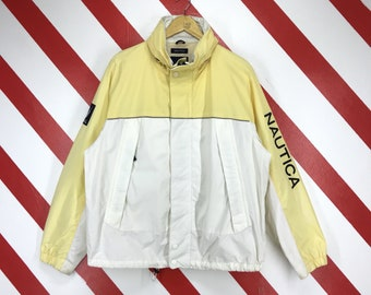 c651f58dfe7b Vintage 90s Nautica NS 83 Jacket Sweater Nautica Hoodie Lightweight Zip Up  Nautica Yellow Big Logo