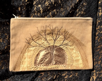ON SALE zippered pouch- tree in golden sun: gold and lace embroidery recycled fabric appliqué textile arts pouch, wallet, or clutch
