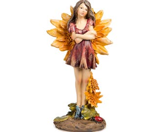 Flower Wing Standing Fairy with Red Dress - Miniature Fairy Garden Dollhouse