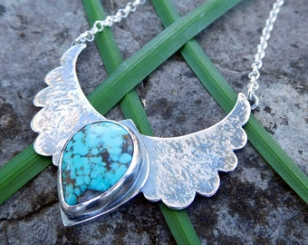 Turquoise Flying wing pendant | sterling silver metalwork | Stamped - Your wings exist FLY | Wing necklace | Bird pendant | folk art pendant