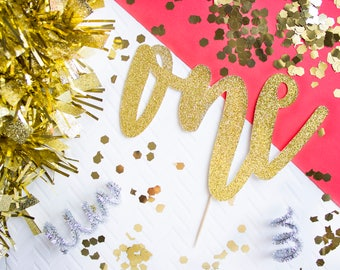 One Cake Topper, 1st Birthday, Smash Cake Topper, Smash Cake Props, Gold Cake Topper, Gold First Birthday, One Cake Topper, Cake Topper Girl
