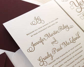 The Cranberry Suite - Classic Letterpress Wedding Invitation Sample - Gold, Deep Red Liner, Formal, Simple, Traditional, Monogram, burgundy