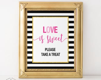Black and White Stripes, Gold and Pink, Love is Sweet Bridal Shower, Wedding, Engagement Party, Sweets Dessert Table, Candy Bar, Favour Sign