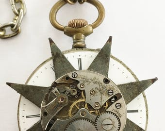 """Antique STAR Steampunk NECKLACE made from Antique """"FOUND"""" Objects  -- One-of-a-Kind"""