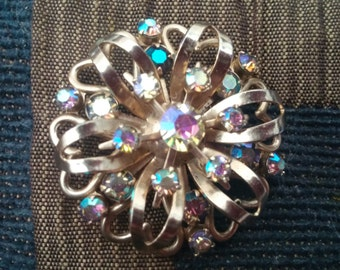 Lovely Vintage Silver Tone Aurora Borealis AB Rhinestone Brooch Pin - Shawl and Scarf Pin Brooch