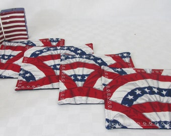 Patriotic Red, White and Blue Mug Rugs, Set of Four Table Topper, Home Decor, Home Textile