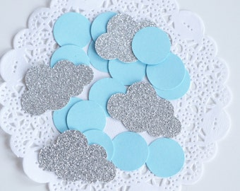 Glitter Cloud Party Confetti, Baby Blue and Silver Confetti, Glitter Confetti, Silver Baby Shower, Baby Boy Gift