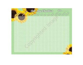 Sunflower Bill Pay Finance Checklist Instant Download