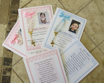 25 BAPTISM FAVORS rosary cards