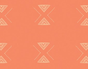 Triangular Impression, Garden Dreamer, Maureen Cracknell Art Gallery Fabrics, modern blender, fabric by the yard, woven, coral, peach