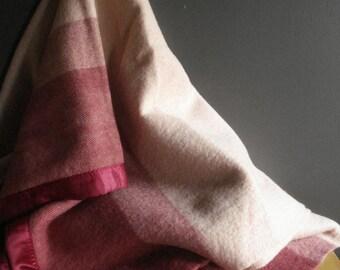 Cozy Up Burgundy - Vintage Wool St. Marys Blanket - Burgundy and Pink Large Stripe Blanket - Wool Bed Blanket