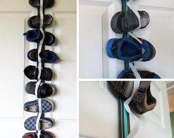 Hanging Toddler Shoe Organizer with Elastic - Store 7 pairs of shoes