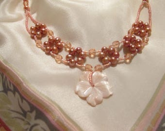 Peach pearl necklace; Woven seed bead, pearl and Czech glass bead necklace;